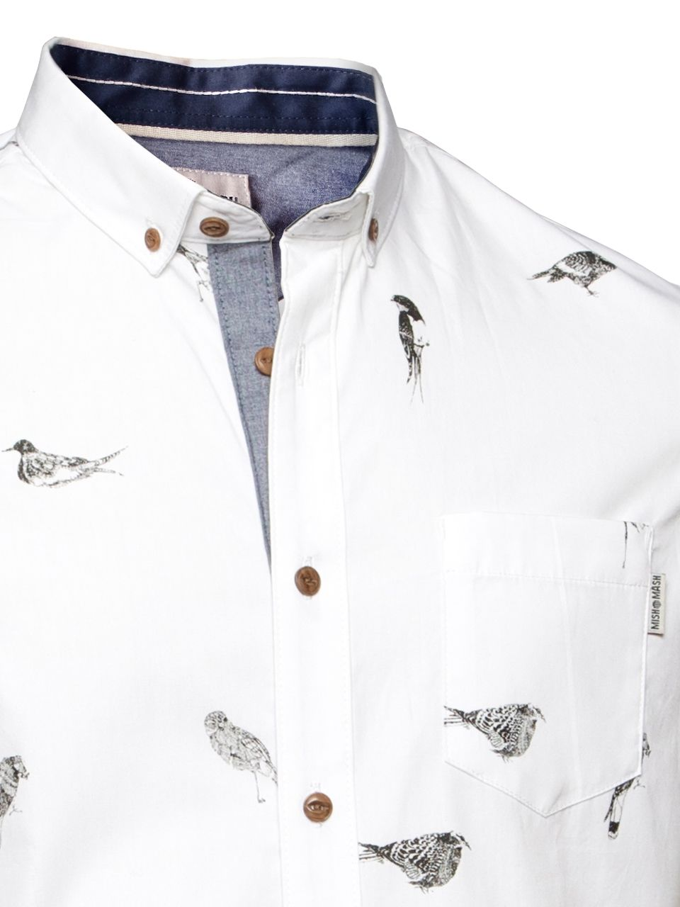 ae0f1388e77 Mish Mash Men's Designer White Birdy Short Sleeve Shirt button Down Collar